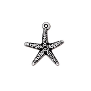 Charms & Solderable Accents Starfish Charm, Silver Plated Pewter, 21.5mm