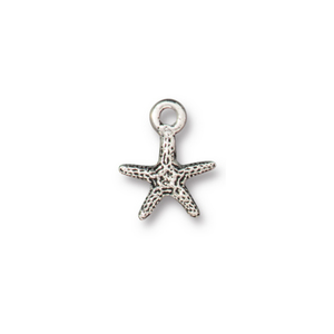 Charms & Solderable Accents Starfish Charm, Silver Plated Pewter, 14mm, Pack of 4