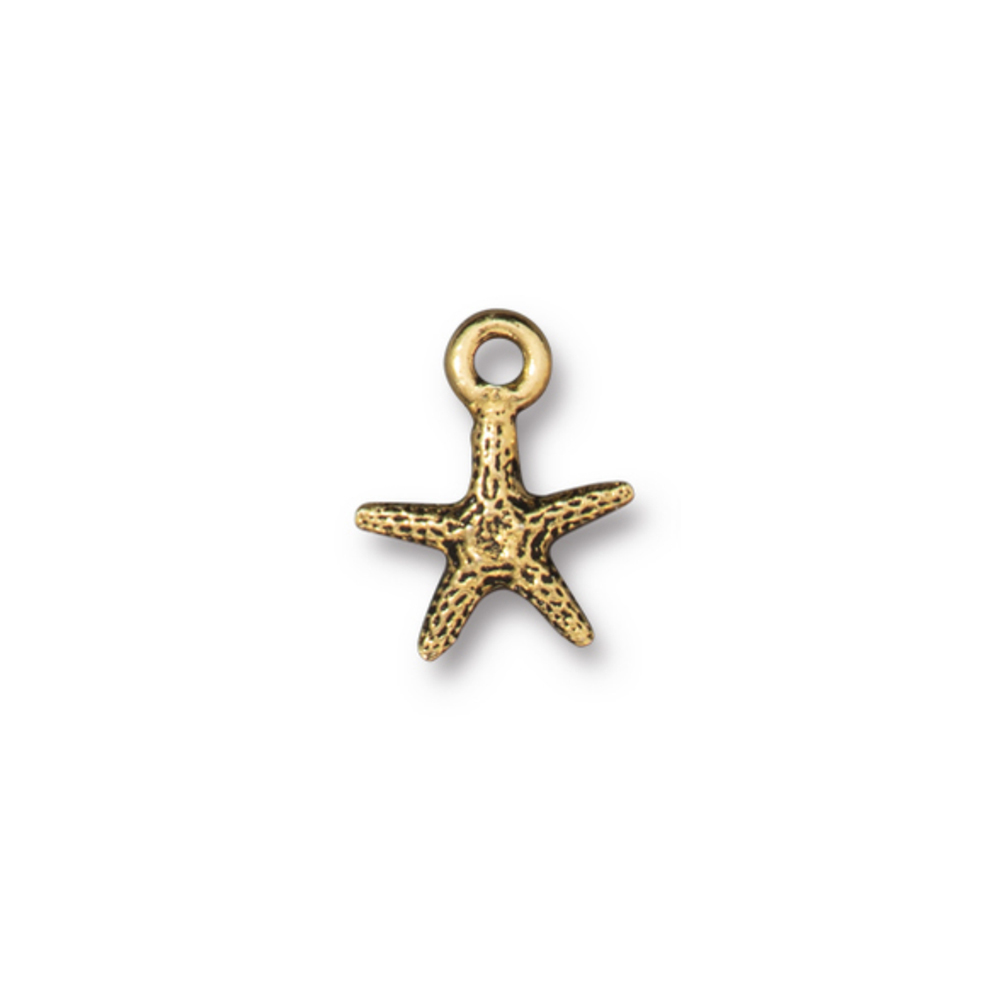 Charms & Solderable Accents Starfish Charm, Gold Plated Pewter, 14mm, Pack of 4