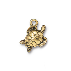 Charms & Solderable Accents Sea Turtle Charm, Gold Plated Pewter, 14mm