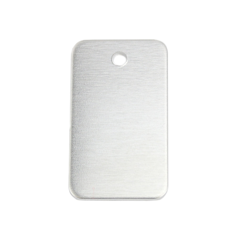 "Metal Stamping Blanks Aluminum Rectangle 38mm (1.5"") x 22mm (.86"") with Hole, 14g, Pack of 5"