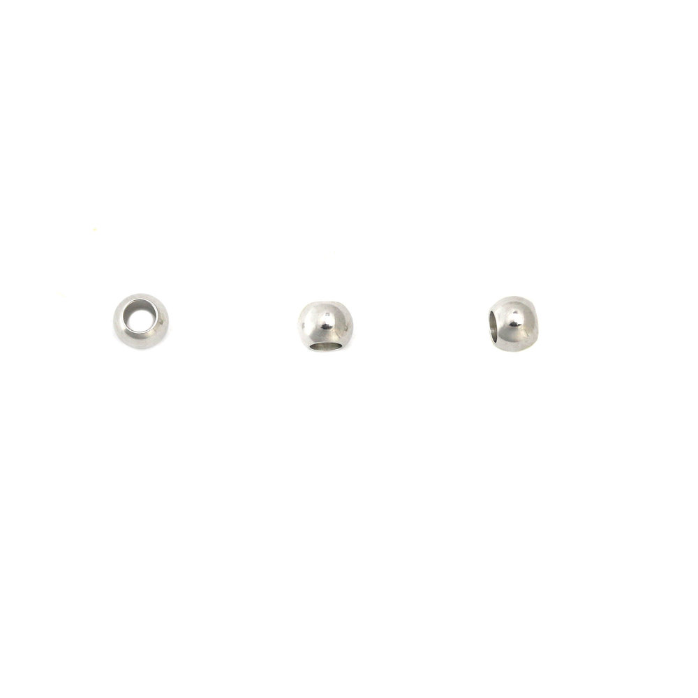 "Beads & Swarovski Crystals Stainless Steel Spacer Beads, 4mm (.16"") with 2.1mm (.08) Hole, Pack of 10"
