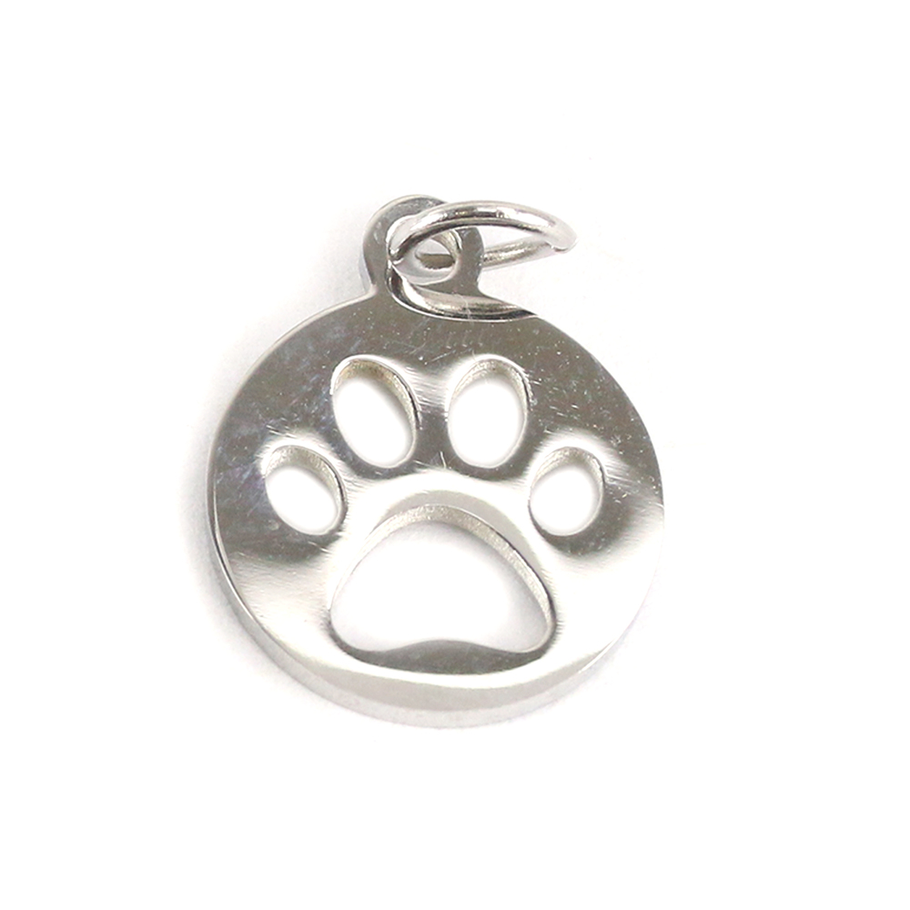 Charms & Solderable Accents Stainless Steel Circle with Paw Cutout Charm, Pack of 5