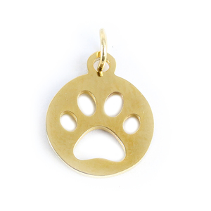 Charms & Solderable Accents Stainless Steel, Gold Plated, Circle with Paw Cutout Charm, Pack of 3