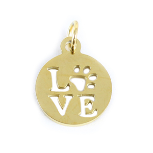 Charms & Solderable Accents Stainless Steel, Gold Plated, Circle with Love and Paw Cutout Charm, Pack of 3