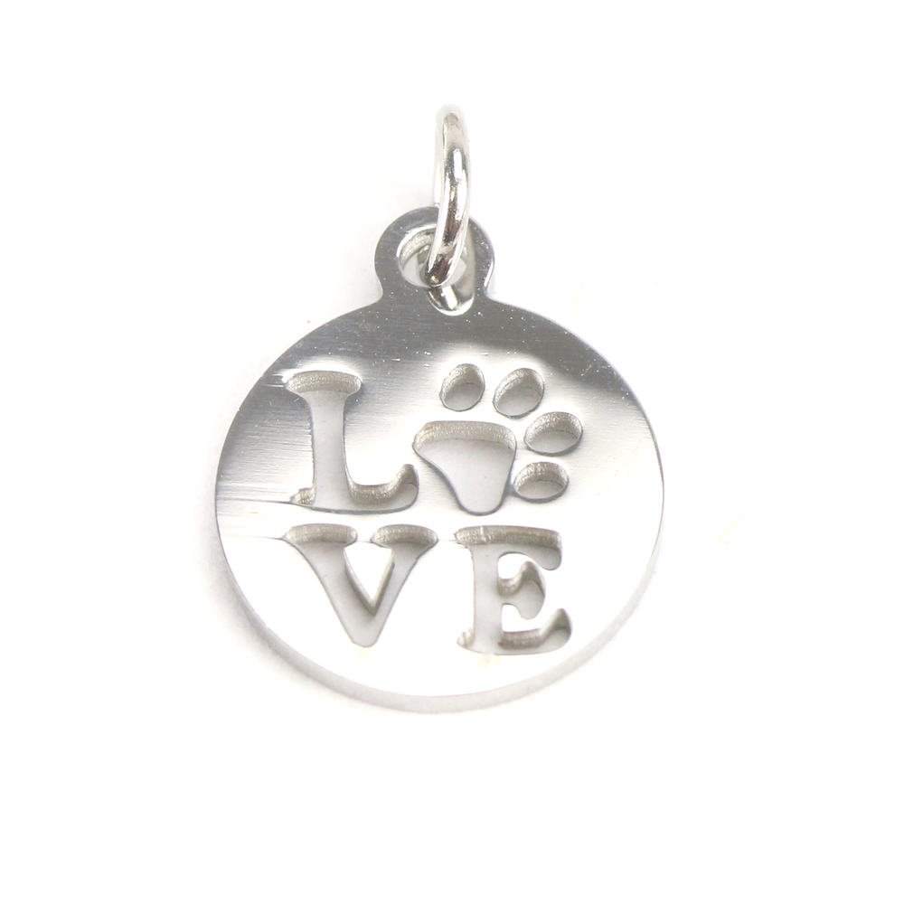 Charms & Solderable Accents Stainless Steel Circle with Love and Paw Cutout Charm, Pack of 5