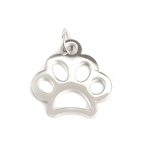 Charms & Solderable Accents Stainless Steel Paw Charm, Pack of 5
