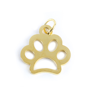 Charms & Solderable Accents Stainless Steel, Gold Plated, Paw Charm, Pack of 3