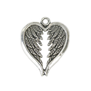 Charms & Solderable Accents Base Metal Heart Shaped Wings Charm, Pack of 10