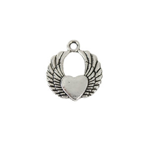 Charms & Solderable Accents Base Metal Heart Charm with Wings, Pack of 10