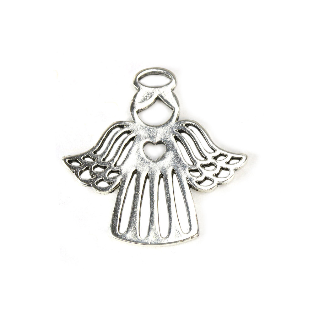 Charms & Solderable Accents Base Metal Angel Charm with Heart on Chest, Pack of 10