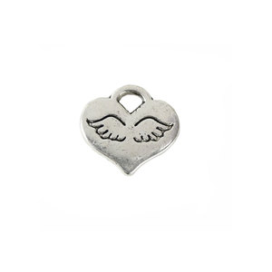 Charms & Solderable Accents Base Metal Solid Heart Charm with Wings, Pack of 20