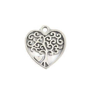 Charms & Solderable Accents Base Metal Heart Charm with Tree, Pack of 10