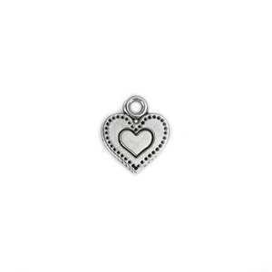 Charms & Solderable Accents Base Metal Heart Charm with Dots and Inner Heart, Pack of 20