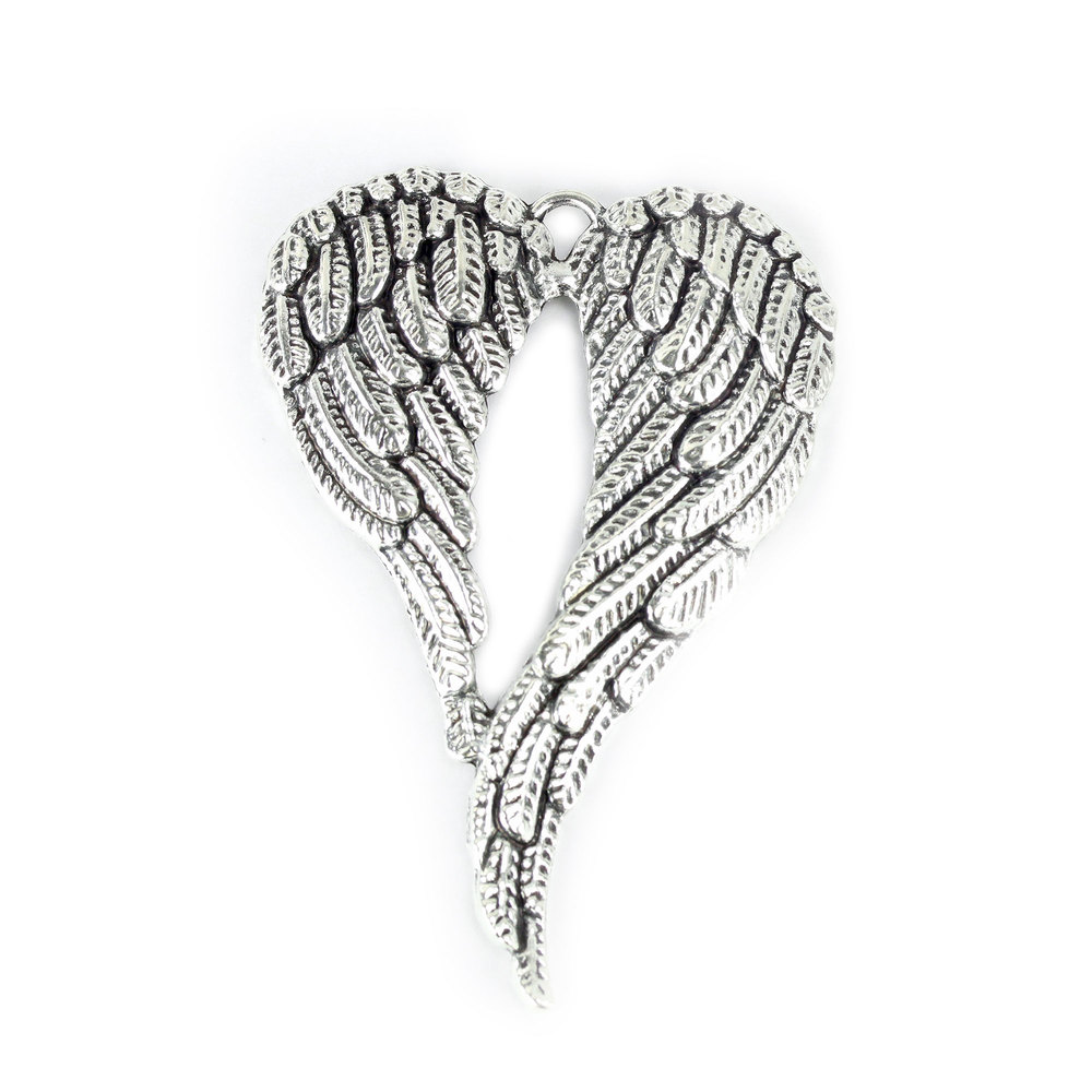 Charms & Solderable Accents Long Heart Shaped Wings Charm with Top Loop, Pack of 2