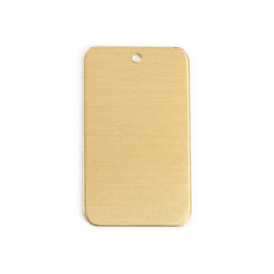 "Metal Stamping Blanks Brass Rectangle 38mm (1.5"") x 22mm (.86"") with Hole, 20g, Pack of 5"