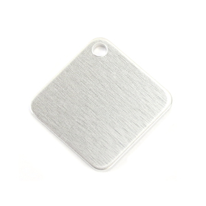 "Metal Stamping Blanks Aluminum Square with Rounded Corners and Hole, 25mm (1""), 14g Pack of 5"