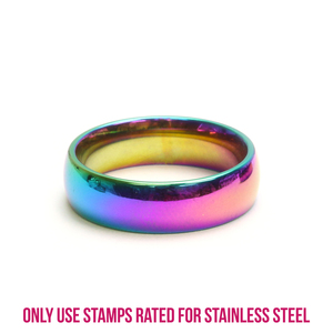 Metal Stamping Blanks Stainless Steel, Rainbow Color Ring Stamping Blank, 6mm Wide, SIZE 9