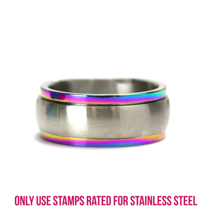 Metal Stamping Blanks Stainless Steel Spinner Ring with Rainbow Rim Stamping Blank, 7.85mm Wide, SIZE 7