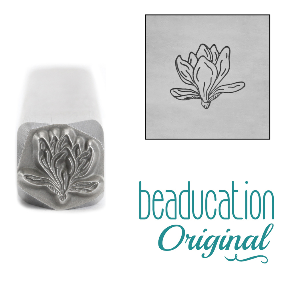 Metal Stamping Tools Magnolia Half Closed Flower Metal Design Stamp, 8.2mm - Beaducation Original