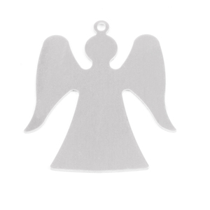 "Metal Stamping Blanks Aluminum Angel with Top Loop, 32mm (1.26"") x 29mm (1.12""), 18g, Pk of 5"