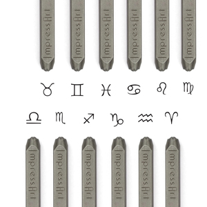 Metal Stamping Tools ImpressArt Horoscope Zodiac Metal Design Stamp 12 Piece Pack, 3mm - 4mm