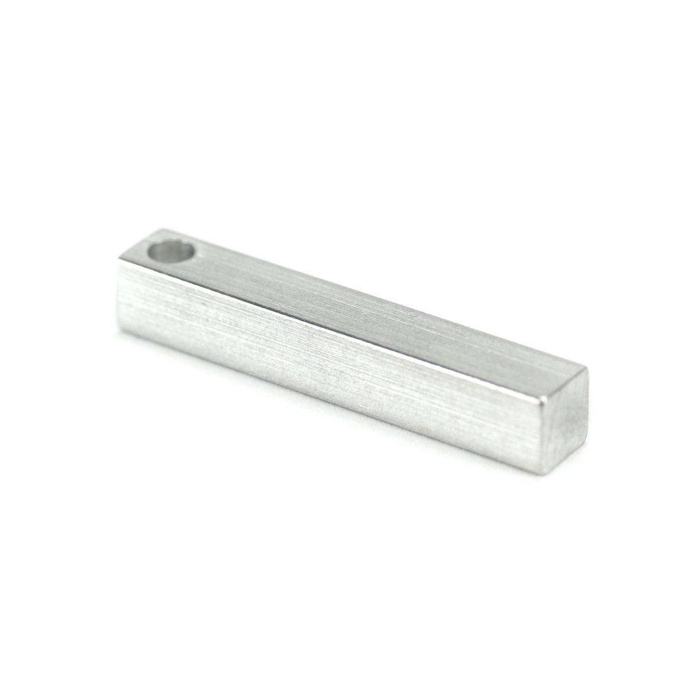 "Metal Stamping Blanks Aluminum Four Sided Rectangle Bar, 38.1mm (1.5"") x 6.4mm (.25""), with Hole"