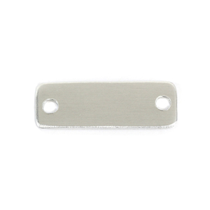 "Metal Stamping Blanks Aluminum Rectangle Shoe Tags, 35.6mm (1.4"") x 12.7mm (.50""), 16 Gauge, with 2 Holes, Pack of 2"