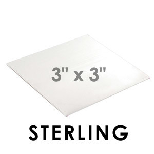 "Wire & Sheet Metal Sterling Silver Sheet Metal, 3"" x 3"", 20 Gauge"
