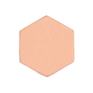 "Metal Stamping Blanks Copper Hexagon 25mm (1""), 18 Gauge"
