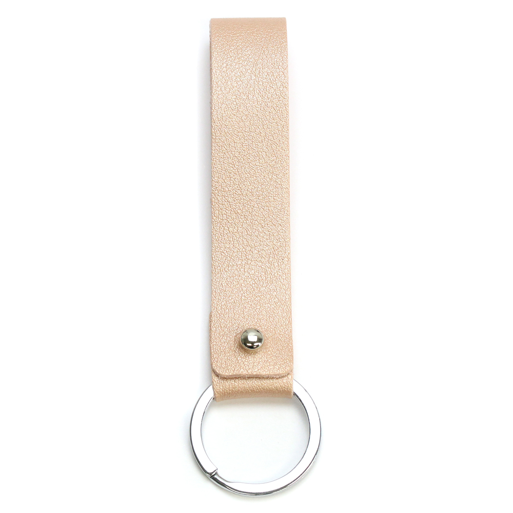 Rivets and Findings  Base Metal Key Ring with Champagne Color Faux Leather Strap