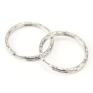 "Rivets and Findings  Base Metal Silver Color, 25mm (1"") Split Ring, Key Ring with Texture - Pack of 10"