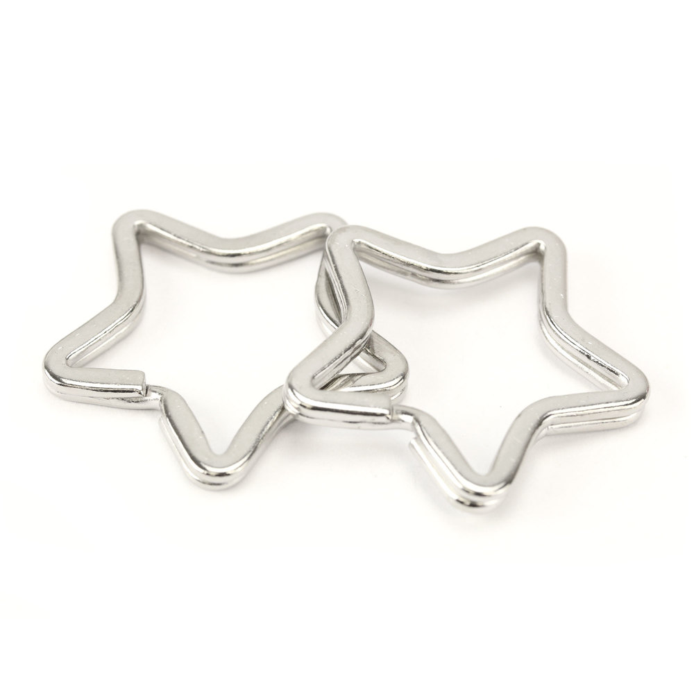 Rivets and Findings  Base Metal Star Split Ring, Key Ring, 33.5mm - Pack of 5