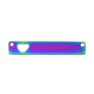 "Metal Stamping Blanks Stainless Steel, Rainbow Color Rectangle Bar with Heart Cutout and Holes, 35mm (1.38"") x 6mm (.24""), Pack of 2"