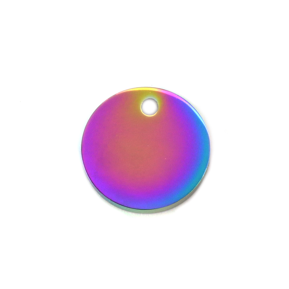 "Metal Stamping Blanks Stainless Steel, Rainbow Color Round, Disc, Circle with Hole, 12mm (.47""), Pack of 5"