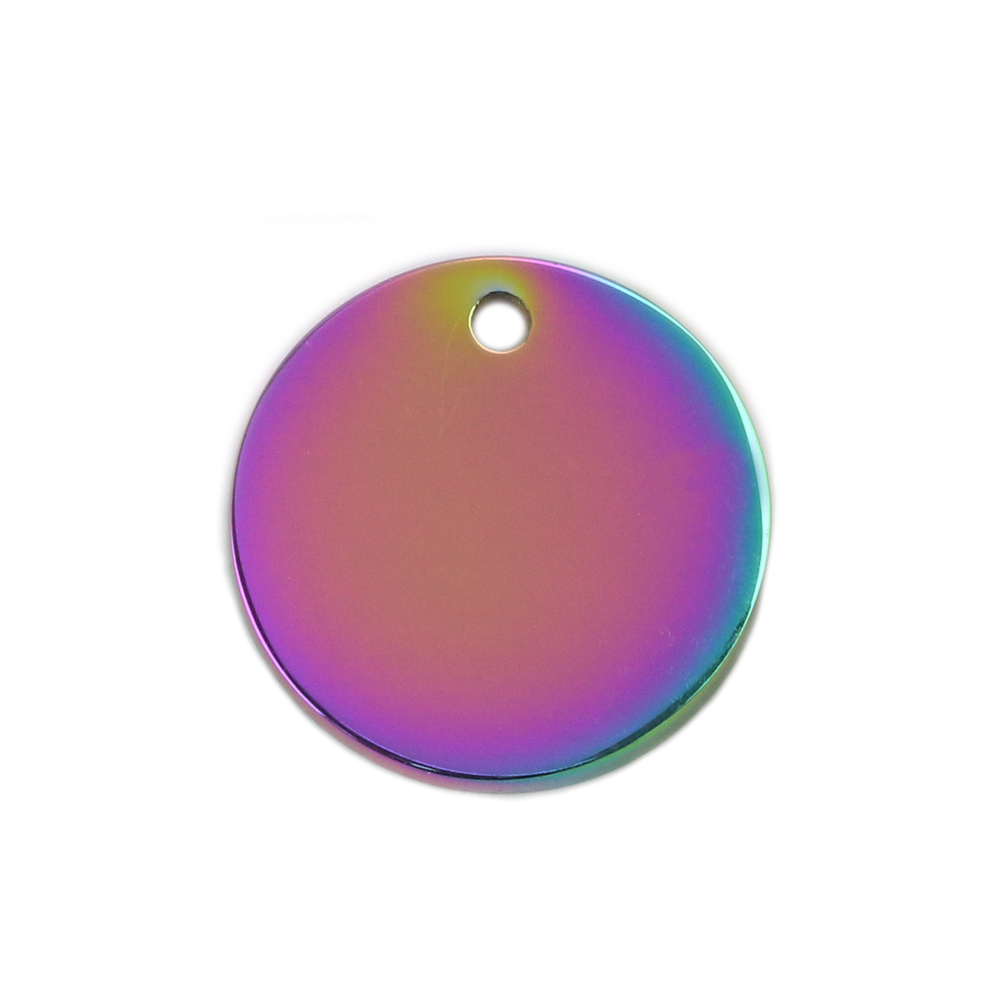 "Metal Stamping Blanks Stainless Steel, Rainbow Color Round, Disc, Circle with Hole, 15mm (.59""), Pack of 5"