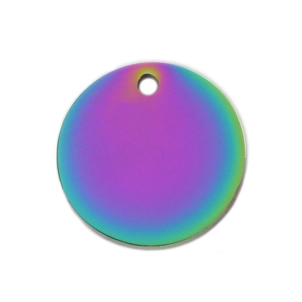 "Metal Stamping Blanks Stainless Steel, Rainbow Color Round, Disc, Circle with Hole, 19mm (.75""), Pack of 5"
