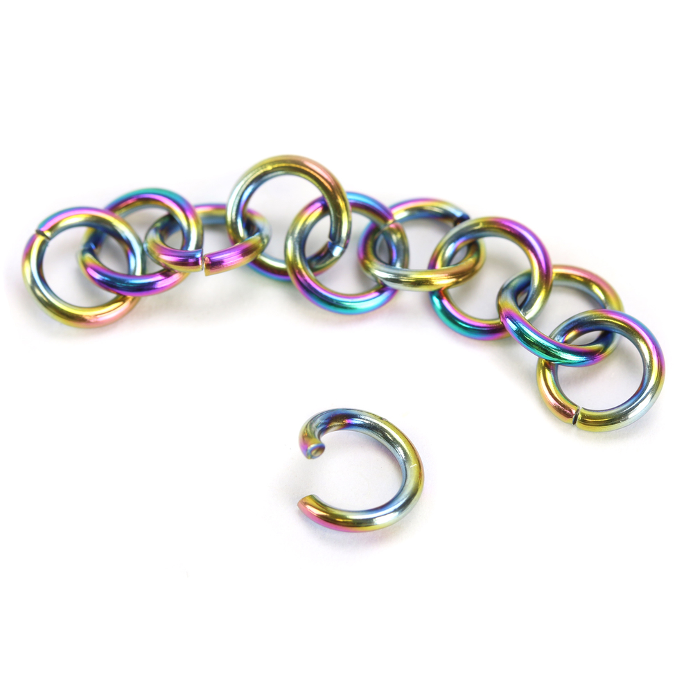 Jump Rings Stainless Steel, Rainbow Color 4.5mm I.D. 18 Gauge Jump Rings, Pack of 10