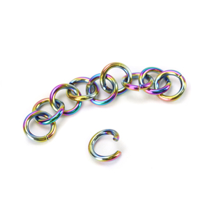 Jump Rings Stainless Steel, Rainbow Color 3.75mm* I.D. 18 Gauge Jump Rings, Pack of 10