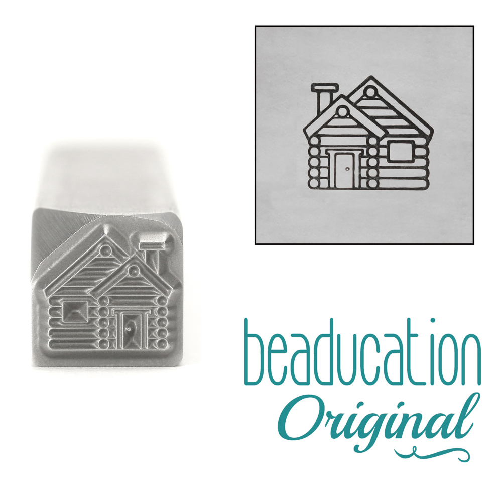 Metal Stamping Tools Log Cabin, Metal Design Stamp, 8mm - Beaducation Original