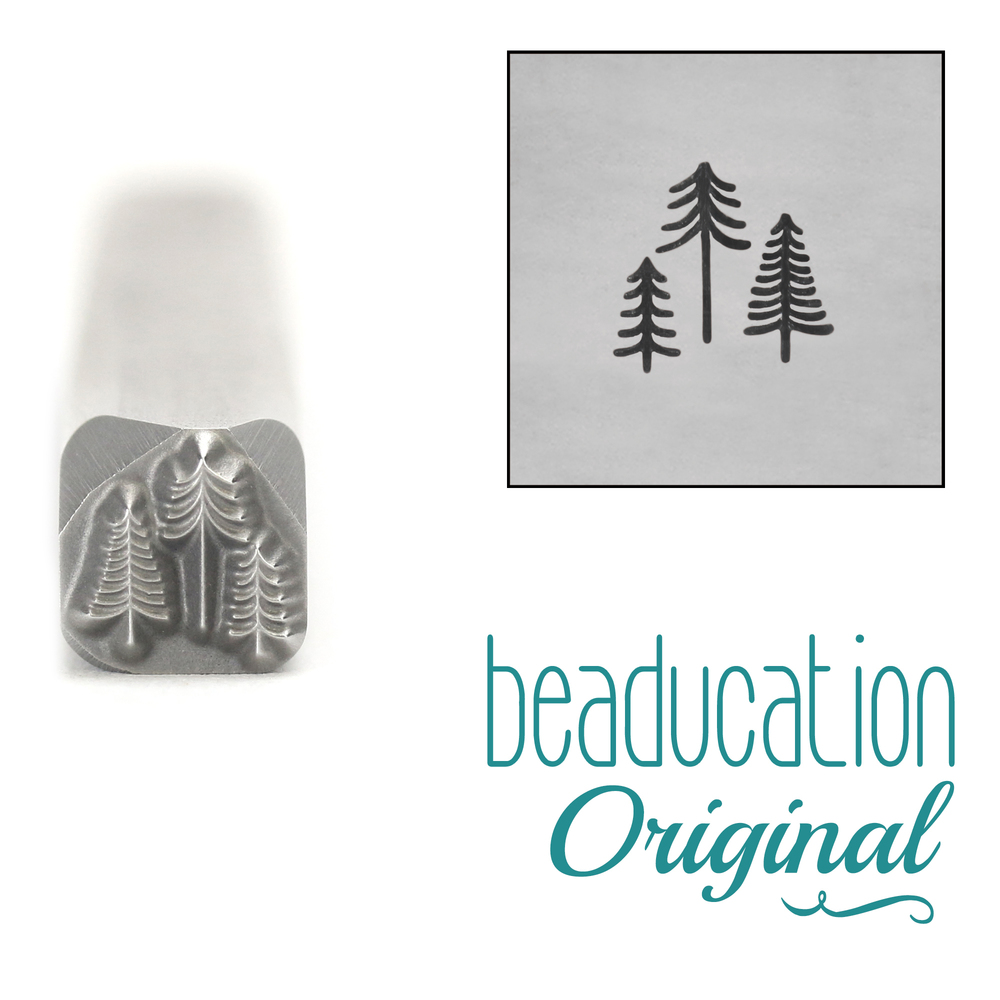 Metal Stamping Tools Three Tiny Trees Design Stamp, 5mm - Beaducation Original
