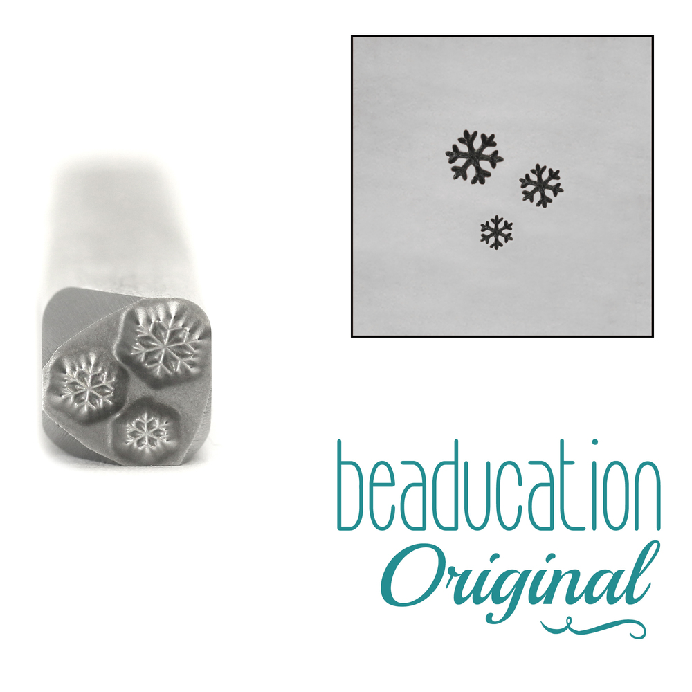 Metal Stamping Tools Three Tiny Snowflakes Design Stamp, 5mm - Beaducation Original
