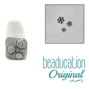 Metal Stamping Tools Three Tiny Snowflakes Design Stamp, 5mm - Beaducation Original