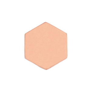 "Metal Stamping Blanks Copper Hexagon 22mm (.87""), 18 Gauge, Pack of 5"