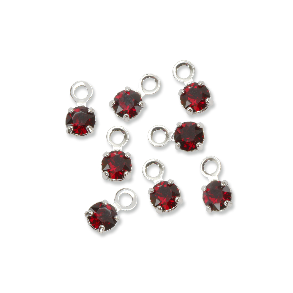 Beads & Swarovski Crystals Swarovski 3mm Round Crystal Charm (Garnet - JANUARY), Pack of 8