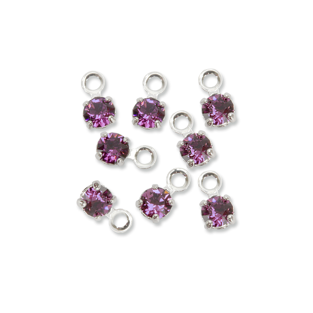 Beads & Swarovski Crystals Swarovski 3mm Round Crystal Charm (Amethyst - FEBRUARY), Pack of 8, *Please Read Product Note