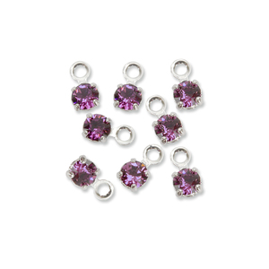 Beads & Swarovski Crystals Swarovski 3mm Round Crystal Charm (Amethyst - FEBRUARY), Pack of 8
