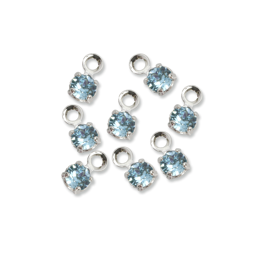 Beads & Swarovski Crystals Swarovski 3mm Round Crystal Charm (Aquamarine - MARCH), Pack of 8, *Please Read Product Note
