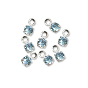 Beads & Swarovski Crystals Swarovski 3mm Round Crystal Charm (Aquamarine - MARCH), Pack of 8