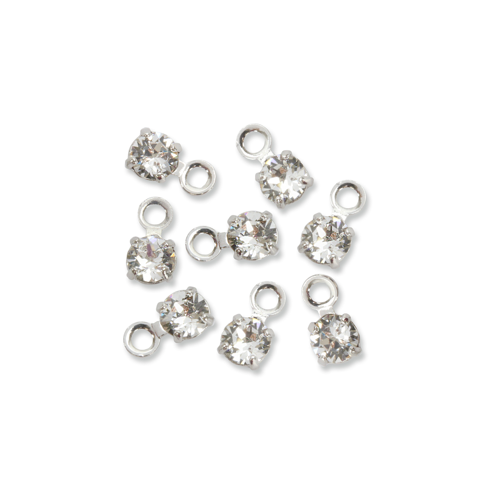Beads & Swarovski Crystals Swarovski 3mm Round Crystal Charm (Diamond - APRIL), Pack of 8, *Please Read Product Note